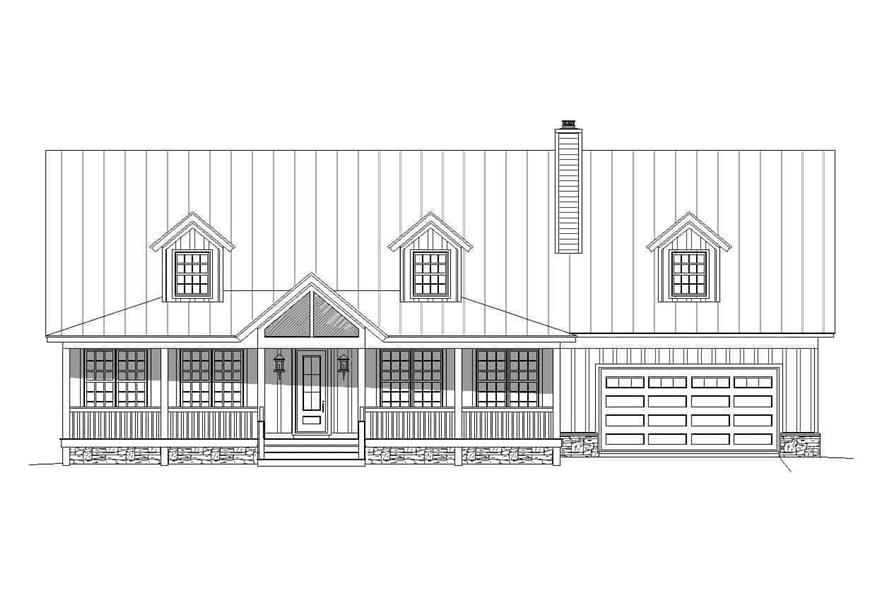 Home Plan Front Elevation of this 4-Bedroom,3100 Sq Ft Plan -196-1139