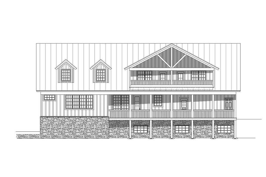 Home Plan Rear Elevation of this 4-Bedroom,3100 Sq Ft Plan -196-1139