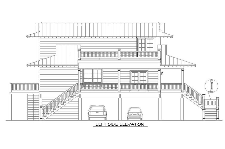 Home Plan Left Elevation of this 3-Bedroom,2118 Sq Ft Plan -196-1148