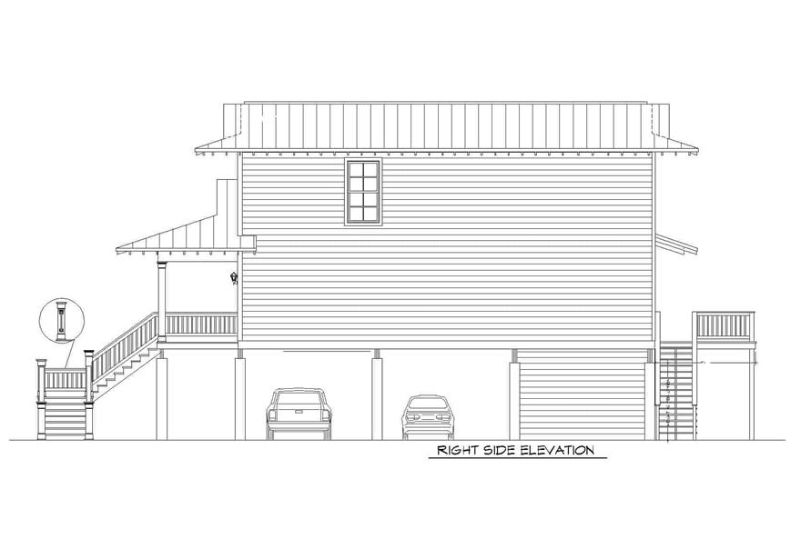 Home Plan Right Elevation of this 3-Bedroom,2118 Sq Ft Plan -196-1148
