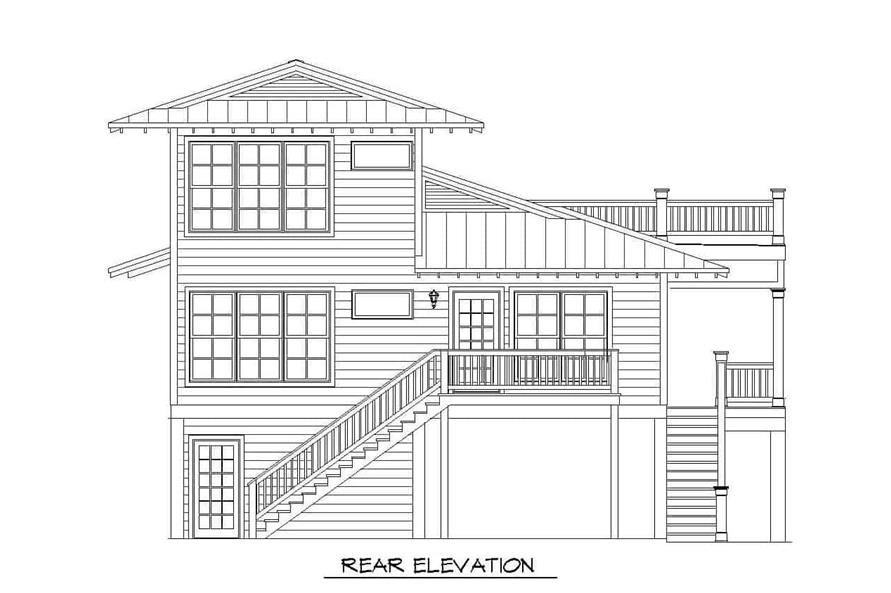 Home Plan Rear Elevation of this 3-Bedroom,2118 Sq Ft Plan -196-1148