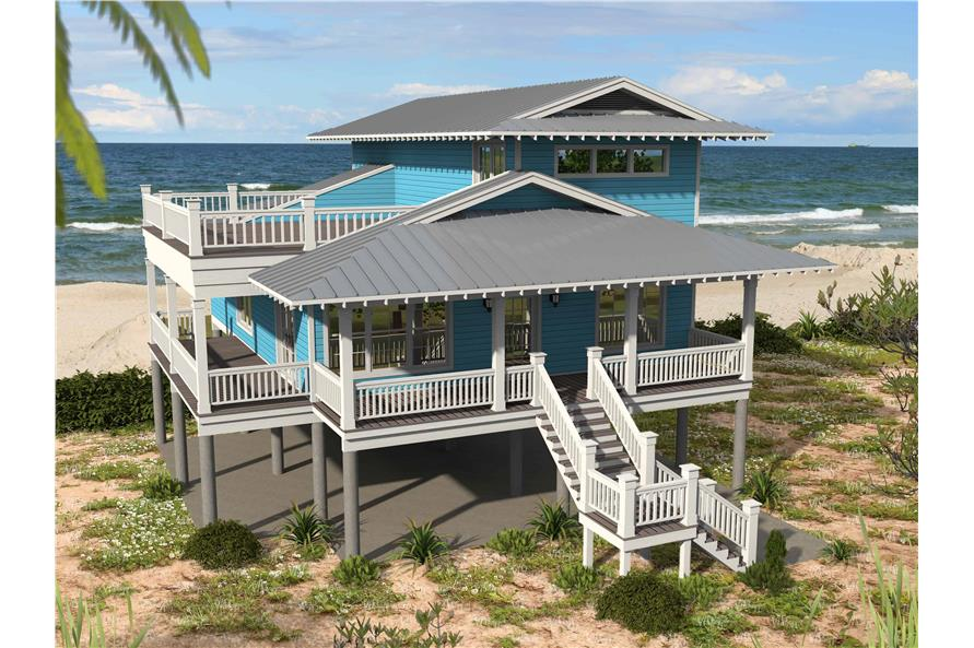 3-Bedroom, 2118 Sq Ft Beachfront Home Plan - 196-1148 - Main Exterior