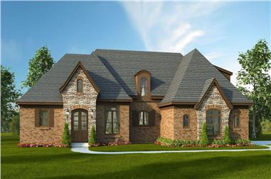 3-Bedroom, 3100 Sq Ft European House Plan - 196-1157 - Front Exterior