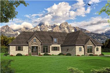 4-Bedroom, 4149 Sq Ft European House Plan - 196-1159 - Front Exterior