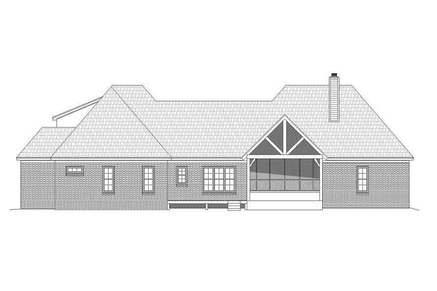 Home Plan Rear Elevation of this 3-Bedroom,3447 Sq Ft Plan -196-1161