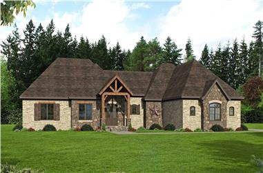 3-Bedroom, 3447 Sq Ft European House Plan - 196-1161 - Front Exterior
