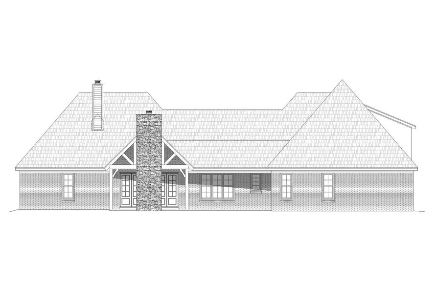 Home Plan Rear Elevation of this 3-Bedroom,2819 Sq Ft Plan -196-1166