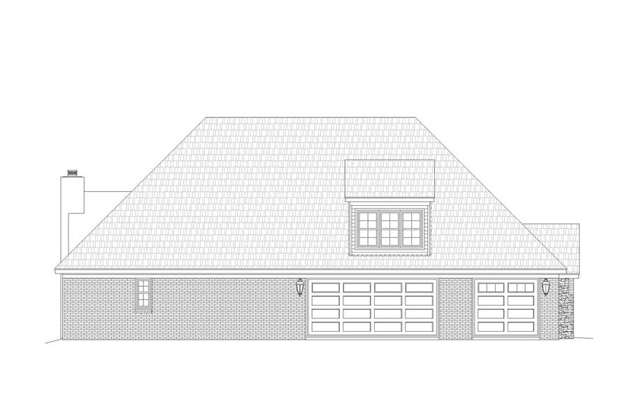 Home Plan Left Elevation of this 3-Bedroom,2819 Sq Ft Plan -196-1166