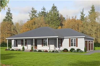4-Bedroom, 3617 Sq Ft Ranch House Plan - 196-1171 - Front Exterior