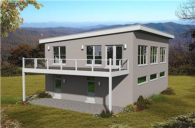 1-Bedroom, 1220 Sq Ft Modern Home Plan - 196-1173 - Main Exterior