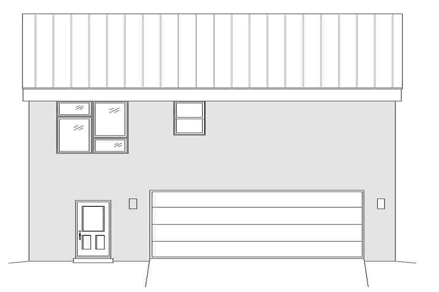 Home Plan Rear Elevation of this 1-Bedroom,1130 Sq Ft Plan -196-1174