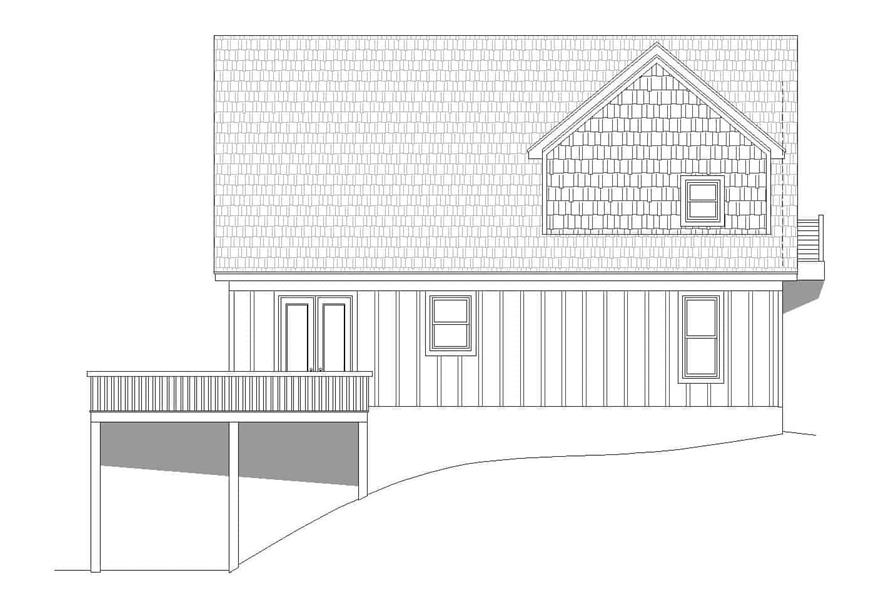 Home Plan Rear Elevation of this 3-Bedroom,1736 Sq Ft Plan -196-1179