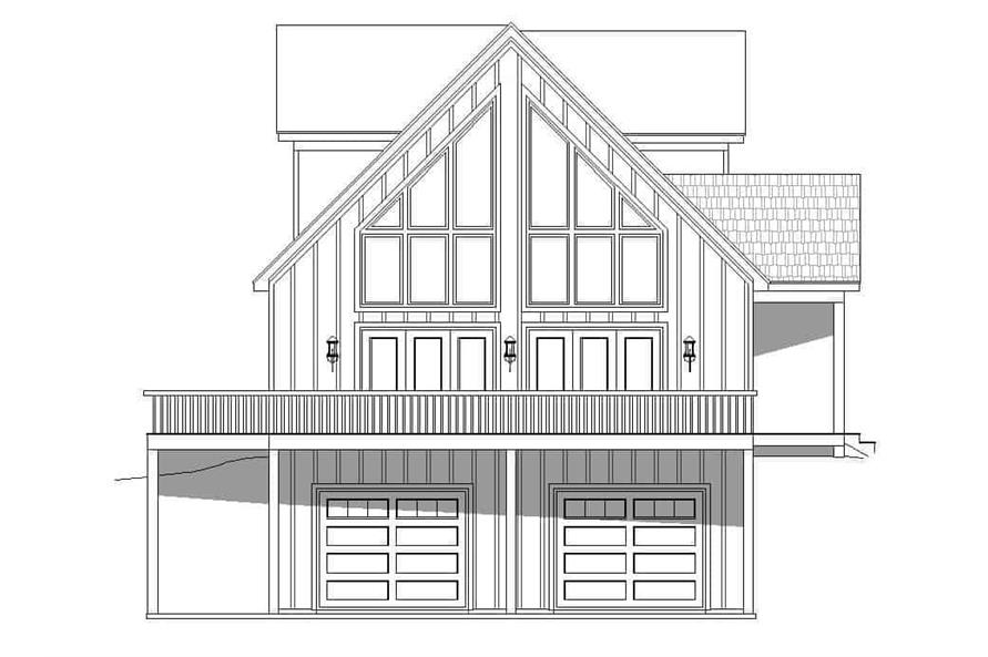 Home Plan Left Elevation of this 3-Bedroom,1736 Sq Ft Plan -196-1180