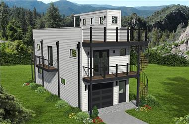 2-Bedroom, 740 Sq Ft Modern House - Plan #196-1187 - Front Exterior