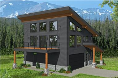 3-Bedroom, 1359 Sq Ft Contemporary House - Plan #196-1189 - Front Exterior