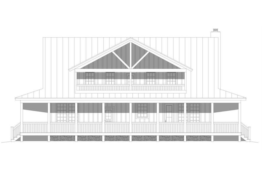 Home Plan Rear Elevation of this 3-Bedroom,2662 Sq Ft Plan -196-1195