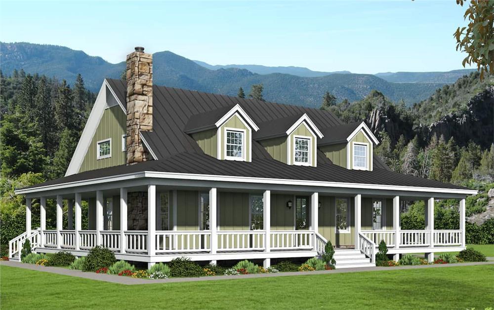 Farmhouse home (ThePlanCollection: Plan #196-1195)