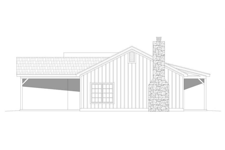 Home Plan Left Elevation of this 3-Bedroom,1643 Sq Ft Plan -196-1198