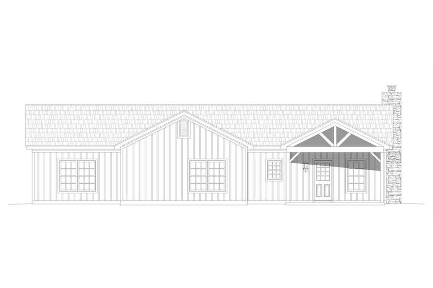 Home Plan Rear Elevation of this 3-Bedroom,1643 Sq Ft Plan -196-1198