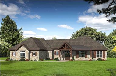 3-Bedroom, 2894 Sq Ft Ranch Home Plan - 196-1209 - Main Exterior