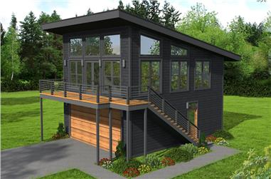 1-Bedroom, 650 Sq Ft Contemporary House - Plan #196-1211 - Front Exterior