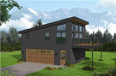 1-Bedroom, 804 Sq Ft Contemporary House - Plan #196-1212 - Front Exterior