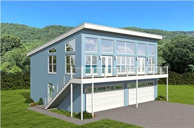 2-Bedroom, 1402 Sq Ft Contemporary Home - Plan #196-1213 - Main Exterior