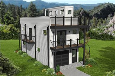 2-Bedroom, 740 Sq Ft Modern House - Plan #196-1214 - Front Exterior