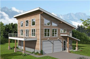 2-Bedroom, 1727 Sq Ft Contemporary House - Plan #196-1216 - Front Exterior