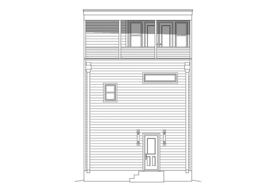 Home Plan Rear Elevation of this 3-Bedroom,2030 Sq Ft Plan -196-1218