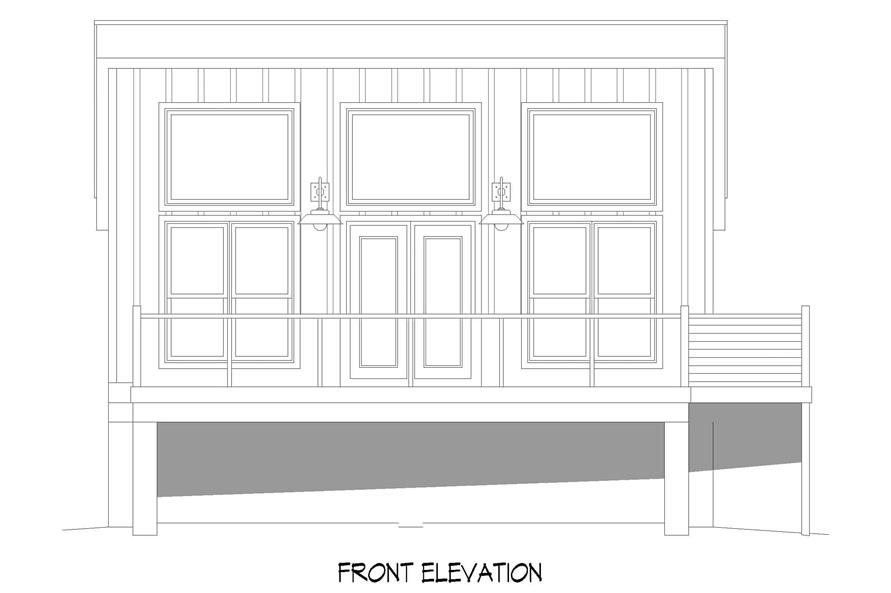 Home Plan Front Elevation of this 1-Bedroom,750 Sq Ft Plan -196-1219