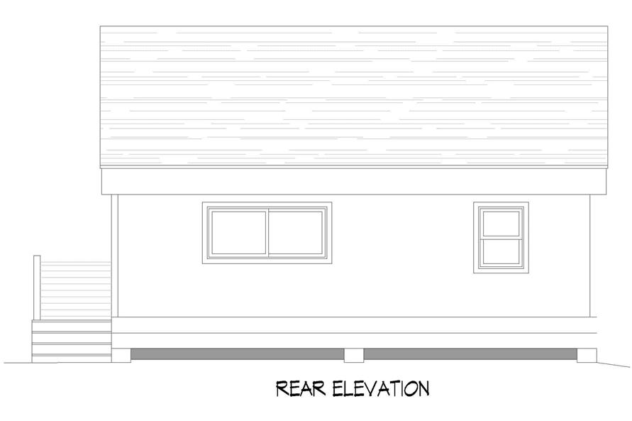 Home Plan Rear Elevation of this 1-Bedroom,750 Sq Ft Plan -196-1219