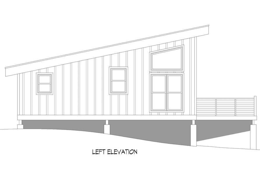 Home Plan Left Elevation of this 1-Bedroom,750 Sq Ft Plan -196-1219