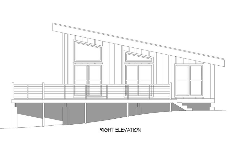 Home Plan Right Elevation of this 1-Bedroom,750 Sq Ft Plan -196-1219