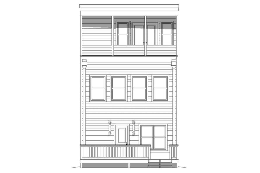 Home Plan Rear Elevation of this 3-Bedroom,2129 Sq Ft Plan -196-1220