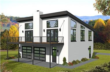 1-Bedroom, 1265 Sq Ft Contemporary House - Plan #196-1223 - Front Exterior