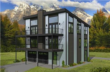 1-Bedroom, 1187 Sq Ft Contemporary House - Plan #196-1225 - Front Exterior