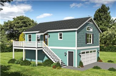 1-Bedroom, 910 Sq Ft Garage w/Apartment House - Plan #196-1229 - Front Exterior