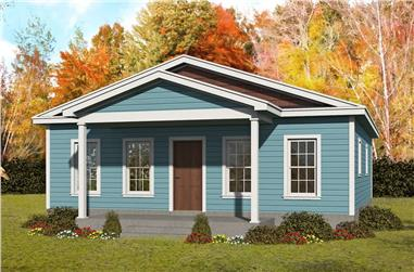 2-Bedroom, 1050 Sq Ft Cottage House Plan - 196-1231 - Front Exterior