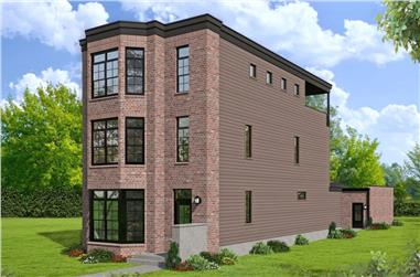 3-Bedroom, 3321 Sq Ft Contemporary Townhouse - Plan #196-1236 - Main Exterior