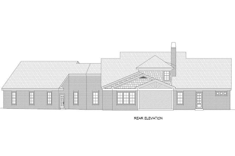 Home Plan Rear Elevation of this 3-Bedroom,3510 Sq Ft Plan -196-1265