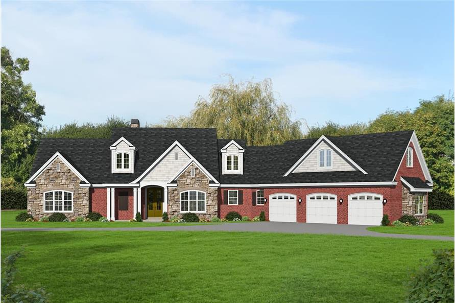 Front View of this 3-Bedroom,3510 Sq Ft Plan -196-1265