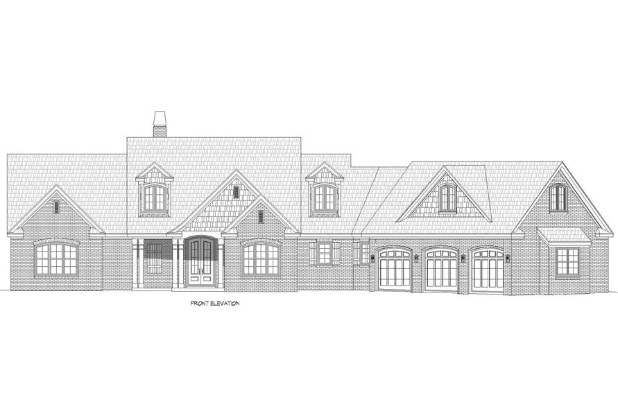 Home Plan Front Elevation of this 3-Bedroom,3510 Sq Ft Plan -196-1265