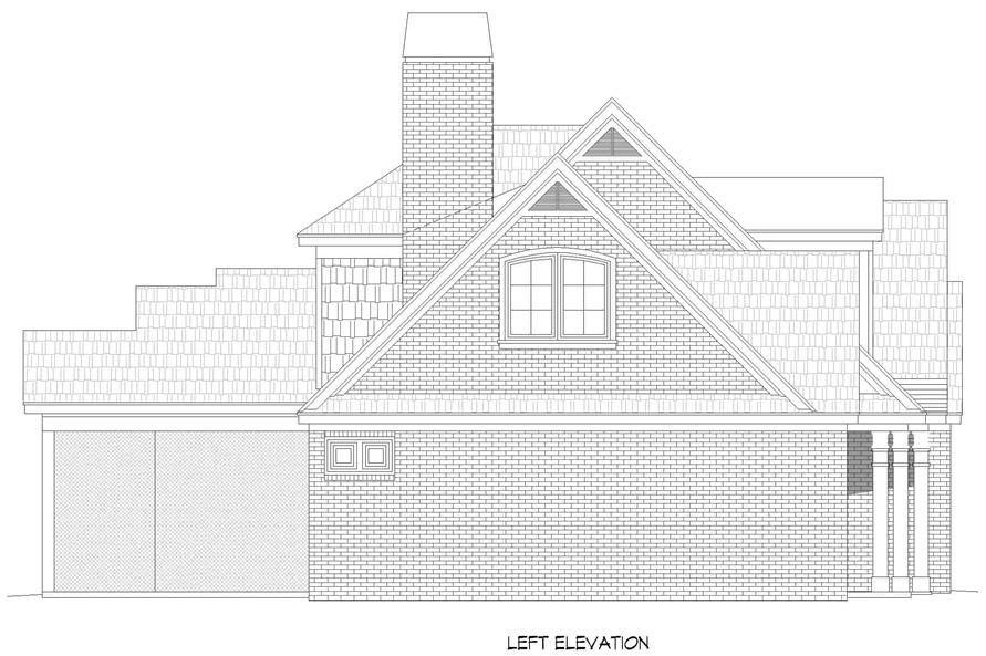 Home Plan Left Elevation of this 3-Bedroom,3510 Sq Ft Plan -196-1265