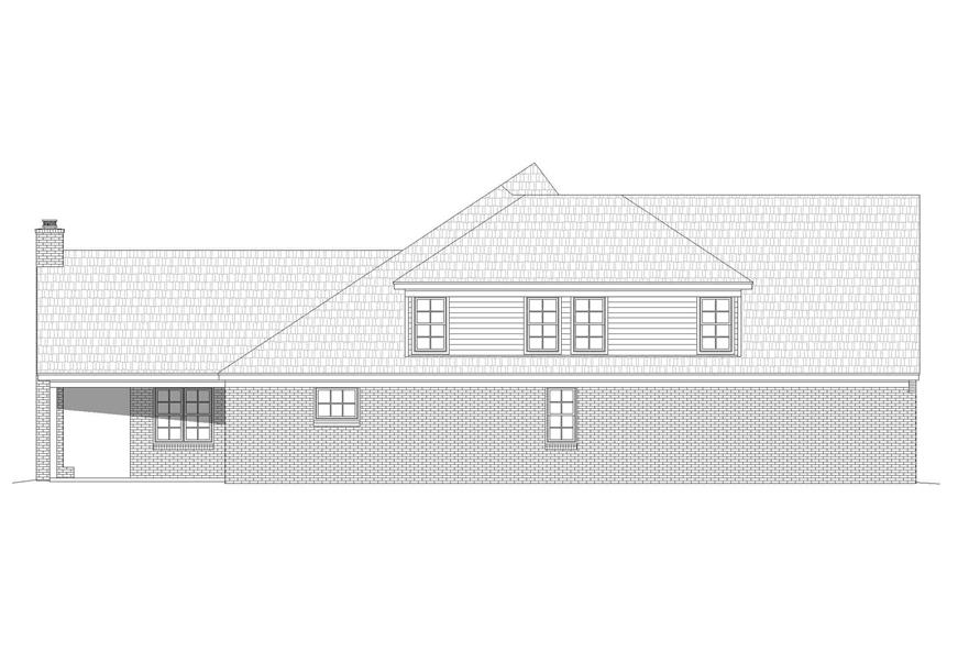 Home Plan Left Elevation of this 5-Bedroom,3781 Sq Ft Plan -196-1268
