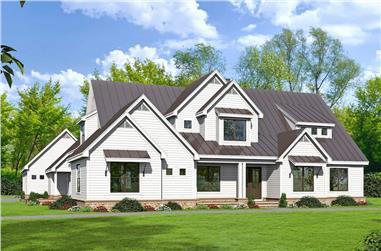6-Bedroom, 5400 Sq Ft Farmhouse Home Plan - 196-1272 - Main Exterior