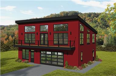 2-Bedroom, 1957 Sq Ft Contemporary House - Plan #196-1274 - Front Exterior
