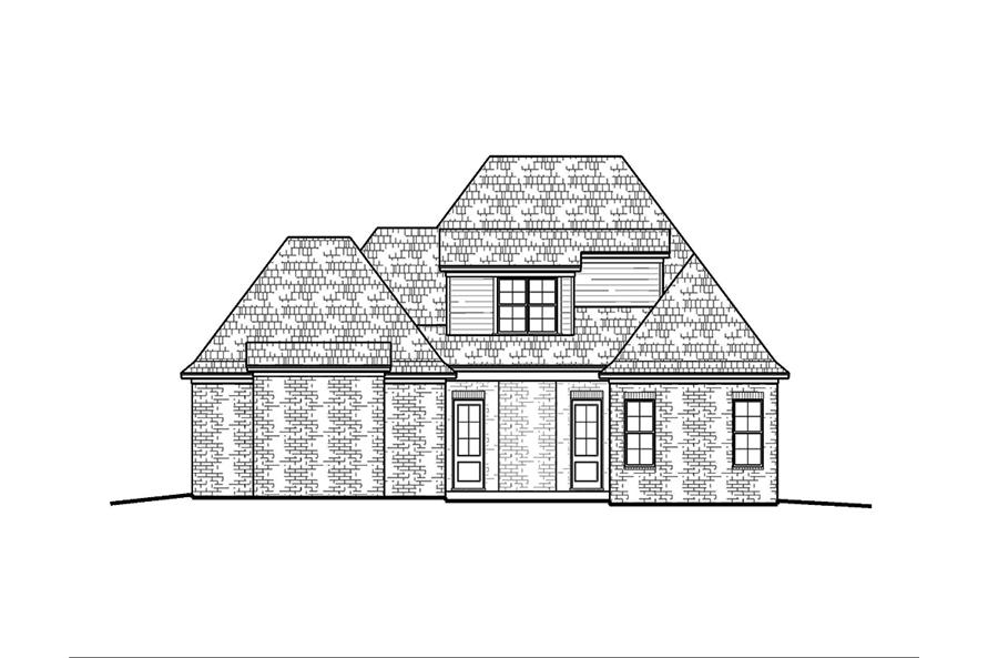 Home Plan Rear Elevation of this 4-Bedroom,2246 Sq Ft Plan -197-1000