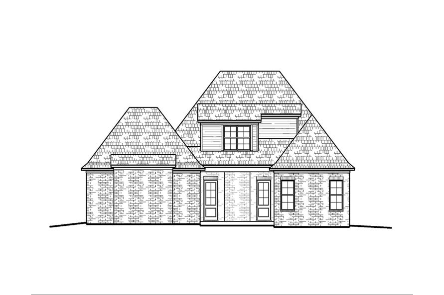 Home Plan Rear Elevation of this 4-Bedroom,2246 Sq Ft Plan -197-1001