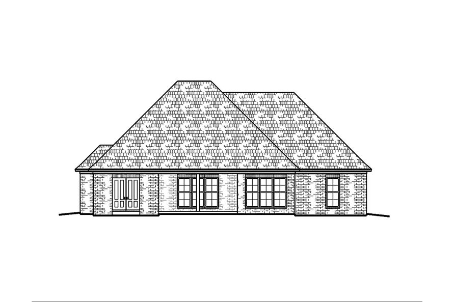 Home Plan Rear Elevation of this 3-Bedroom,1953 Sq Ft Plan -197-1002